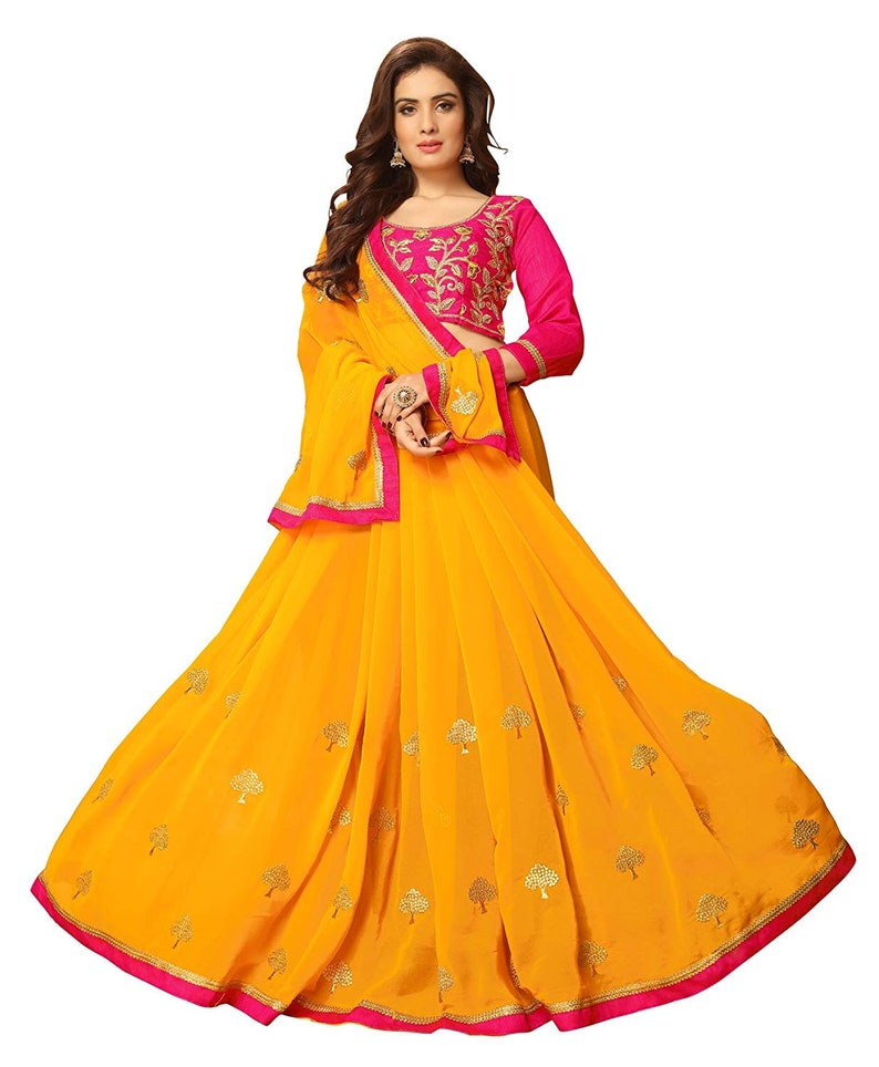 Embellished Bollywood Poly Georgette Saree Yellow Embroidered with blouse piece women dress indian traditional new design