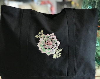 Embroidered Succulent Bag