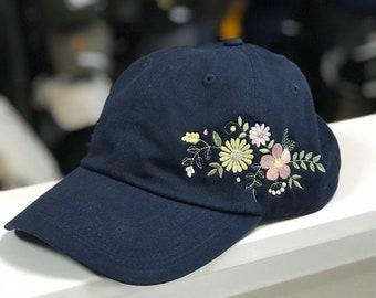 Soft floral embroidered adjustable hat. Choose your hat color