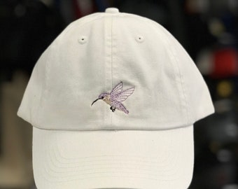 Soft hummingbird embroidered adjustable hat. Customized colors available!