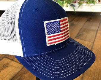 Blue/White Embroidered Patch American Flag Trucker Hat