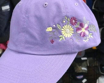 Colorful Floral embroidered adjustable hat. Customizable color!