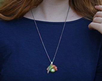 Dragon necklace Bisexual Pride, LGBT Dragon Pendant, Custom Pride Flag dragon jewelry,  Asexual Nonbinary Gay Pride Gift, Crystal Birthstone