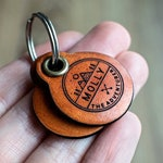 Miniature adventure themed - Saddle Tan leather - double personalized dog tag
