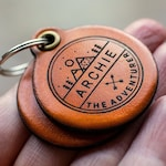 Adventure themed - Saddle Tan leather - double personalized dog tag