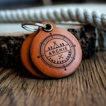 Explorer themed - Saddle Tan leather - double personalized dog tag