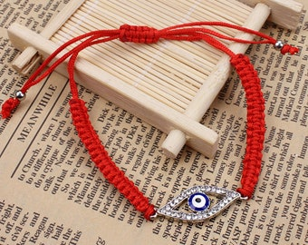 Evil Eye bracelet, good luck bracelet, red string bracelet, adjustable, greek blue evil eye jewelry, Kabbalah protection nazar bracelet