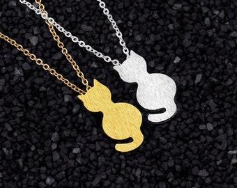 Cat Necklace, Little Cat Pendant, hypoallergenic non-tarnish stainless steel silver kitten charm, minimalist, dainty layering charm necklace