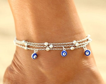 Evil Eye Anklet, Evil Eye Ankle Bracelet, silver, minimalist, dainty foot jewellery, beach wedding gift, good luck protection anklet