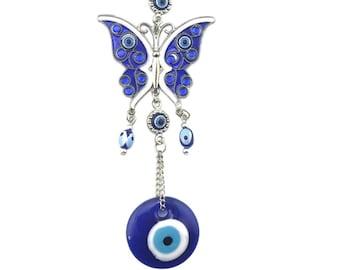 Evil Eye Butterfly Wall Hanging, Good Luck, Wealth, Protection Home Decor, Rhinestone Butterfly, Blue Greek Eye, Nazar, Positive Energy
