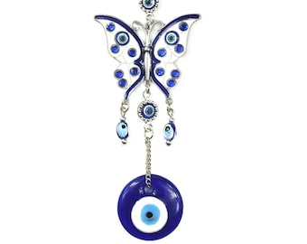 Evil Eye Butterfly Wall Hanging, Good Luck, Wealth, Protection Home Decor, Rhinestone Butterfly, Blue Greek Eye, Nazar, Positive Energy