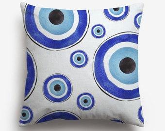 "Evil Eye Pillow Cover, Evil Eye Pillow Case, decorative cushion cover, Good Luck Decor, 17x17"", good luck, protection, greek evil eye"