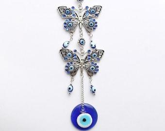 Evil Eye Butterfly Wall Hanging, Good Luck, Wealth, Protection Home Decor, Blue Greek Evil Eye, Nazar, Positive Energy