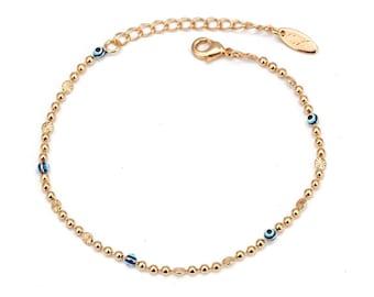 Evil Eye Anklet, Evil Eye Ankle Bracelet,  gold, minimalist, dainty foot jewelry, beach wedding gift, good luck protection