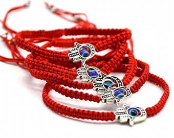 Evil Eye hamsa bracelet, good luck bracelet, red string bracelet, adjustable greek blue evil eye jewelry, Kabbalah protection nazar bracelet