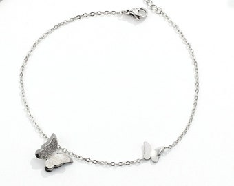 Butterfly Anklet, Anklet Bracelet, Stainless Steel, Silver colour hypoallergenic, non tarnish, durable, dainty foot jewellery