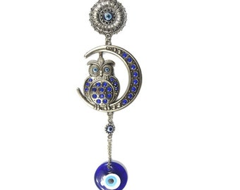 Evil Eye Owl Crescent Moon Wall Hanging, Good Luck, Wealth, Protection Home Decor, Rhinestone Owl, Blue Greek Eye, Nazar, Positive Energy
