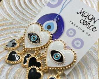 Evil Eye Earrings, Evil Eye Enamel Dangle Statement Earrings, Blue Eye, Gold, Good luck, Protection, Positive Energy, Kabbalah Earrings