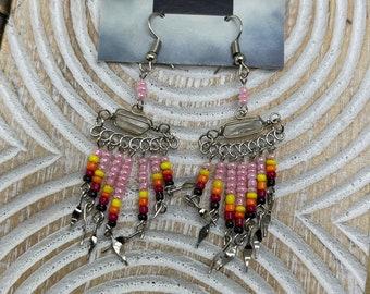Clear Quartz Beaded Earrings, Genuine Clear Quartz Dangle Alpaca Silver Earrings, Peruvian Style, Dangle Gemstone Earrings