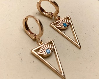 Evil Eye Earrings, Evil Eye Triangle Dainty Dangle Earrings, Blue, Gold, evil eye, Good luck, Protection, Positive Energy, Kabbalah Earrings