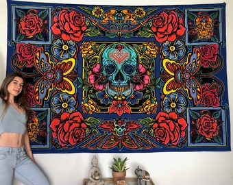 "Skull Tapestry, Day of Death Tapestry, Psychedelic Tapestry, Groovy Tapestry, Bed Cover, 60""x90"" Tapestry, Oversized Wall Hang, Boho Decor"