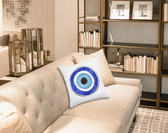"Evil Eye Throw Pillow Cushion Cover Home Sofa Decorative Pillowcase, Watercolor Painting, 17x17"", good luck, protection, Turkish lucky eye"