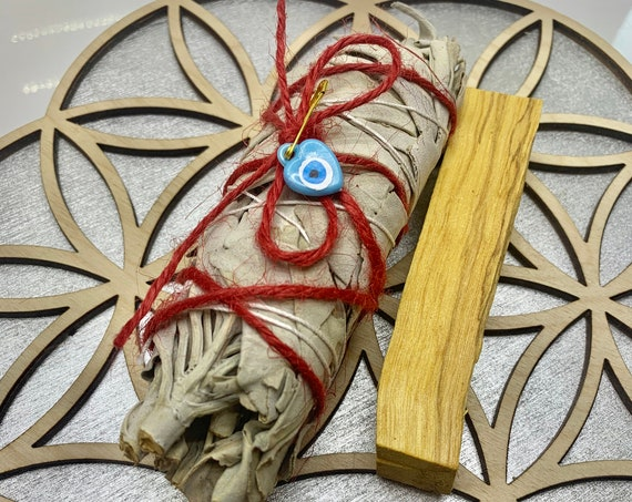 White Sage Palo Santo Evil Eye Smudge Bundle, cleansing, protection, good vibes kit