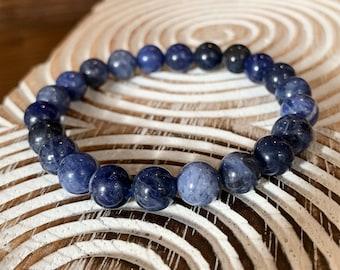 Sodalite Energy Bracelet,Natural Blue Sodalite Beads, Poets Stone, Truth Stone, Logic Mental Clarity Stone, Study Buddy, Self-esteem, 6-8mm