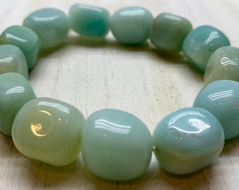 Amazonite Bracelet, Genuine, Natural, Stretchy, Beaded, Gemstone, Healing Crystal, Soothing, Calming, Heart Chakra, Throat Chakra Bracelet