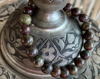 Dragon Blood Jasper Healing Crystal Bead Bracelet