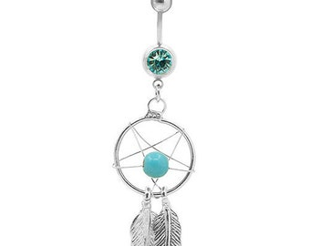 Dreamcatcher Belly Ring, Dreamcatcher Body Jewelry, Dream Catcher Naval Ring, Belly Button Ring