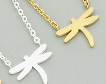 Dragonfly Necklace, Dragonfly Pendant, hypoallergenic non-tarnish stainless steel silver, minimalist, dainty layering charm necklace
