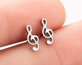 Treble Clef Earrings, Silver Sol Key, Musical Note, Clef Note Stud Earrings, hypoallergenic stainless steel