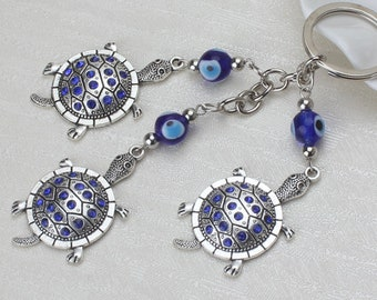 Evil Eye keychain, Evil Eye Turtle keychain, wall hanging, good luck, protection, greek evil eye, key ring, rear view mirror car charm