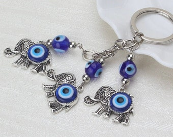 Evil Eye keychain, Evil Eye Elephant keychain, good luck, wealth, protection, greek evil eye, elephant key ring, rear view mirror car charm