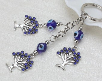 Evil Eye Tree Of Life keychain, Evil Eye keychain, wall hanging, good luck, protection, greek evil eye, key ring, rear view mirror car charm