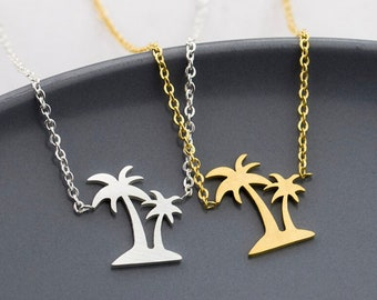 Palm Tree Necklace, Double Palm Tree Pendant, hypoallergenic non-tarnish stainless steel silver, minimalist, dainty layering charm necklace