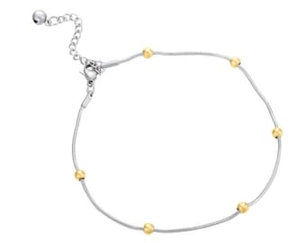 Anklet bracelet, ball chain, durable two-tone gold plated stainless steel, minimalist foot jewelry, summer beach wedding gift ankle bracelet