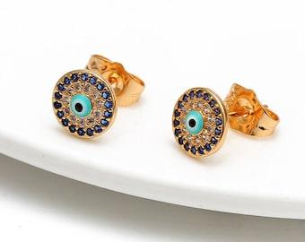 Evil Eye Earrings, Evil Eye Stud Earrings, Blue evil eye, dainty ear studs, Good luck, Protection, Positive Energy, Kabbalah Earrings