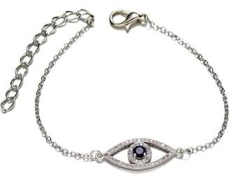 Evil Eye bracelet, good luck bracelet, adjustable, greek blue evil eye jewelry, Kabbalah, gold evil eye bracelet, silver evil eye bracelet