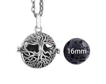 Essential Oil Necklace, natural lava stone, aromatherapy perfume diffuser, tree of life locket pendant, healing, meditation, zen necklace