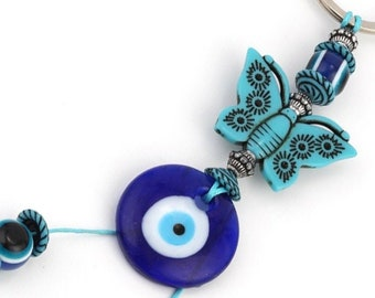 Evil Eye Keychain, Evil Eye Butterfly Keychain, good luck, wealth, protection, greek eye, butterfly key ring, rear view mirror car charm