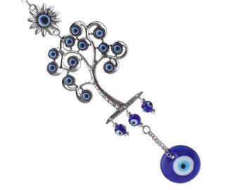 Evil Eye Tree of Life Wall Hang for Good Luck, Wealth, Protection, Blue Greek Evil Eye  Home Decor