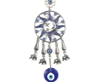 Evil Eye Sun and Moon Wall Hanging, Good Luck, Wealth, Protection Home Decor, Blue Greek Eye, Nazar, Positive Energy with elephants