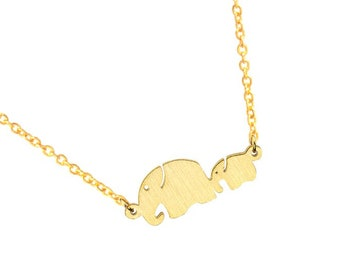 Elephant Necklace, Elephant Family Pendant, hypoallergenic non-tarnish stainless steel silver Mom and Baby Elephant charm, layering necklace