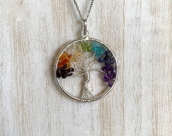 Tree of Life Necklace, Chakra Tree of Life Pendant, Chakra Pendant, Stainless Steel Chain, Healing Crystal Pendant Necklace, Chakra healing
