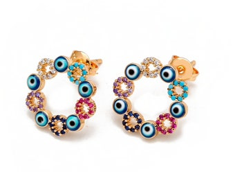 Evil Eye Earrings, Evil Eye Stud Earrings, Rainbow evil eye dainty ear studs, Good luck, Protection, Positive Energy, Gold Plated, Zircon