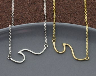 Wave Necklace, Ocean Wave Pendant, hypoallergenic non-tarnish stainless steel wave pendant, gold, minimalist, dainty layering charm necklace
