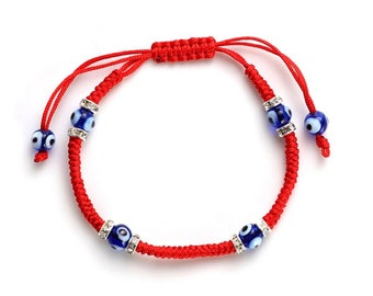 Evil Eye adjustable red string braided nazar bracelet, good luck, protection, greek blue evil eye, friendship, couples, Kabbalah bracelet