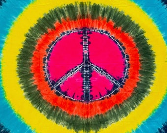 Peace Sign Tapestry, Tie Dye Tapestry, Peace Sign Bed Cover, 60x90 Tapestry, Peace Sign Batik Oversized Tapestry, Boho, Hippie Tapestry